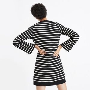 Madewell // Button Sleeve Sweater Dress in Stripe